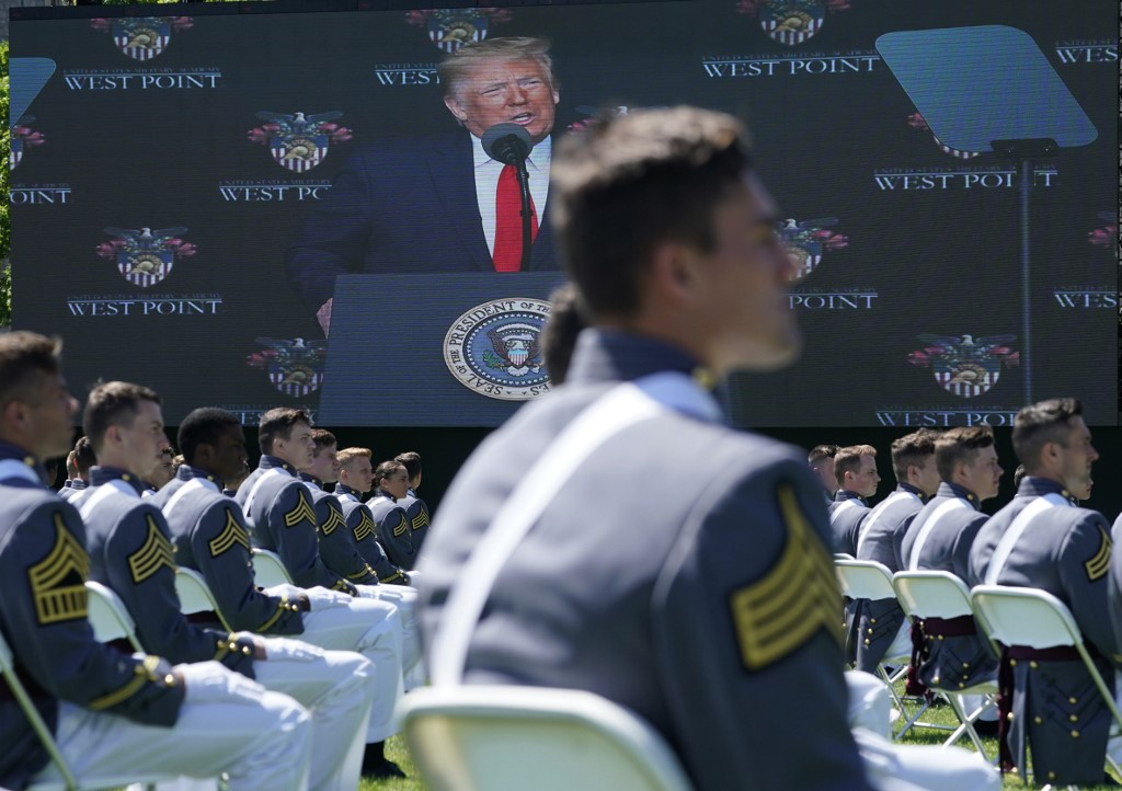 Trump addresses West Point grads but largely ducks controversies