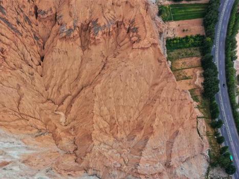 Scenery of Danxia landform in Guide, Qinghai