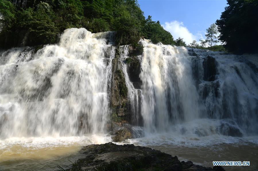 Scenery of Midi River Waterfall in Bijie,Guizhou