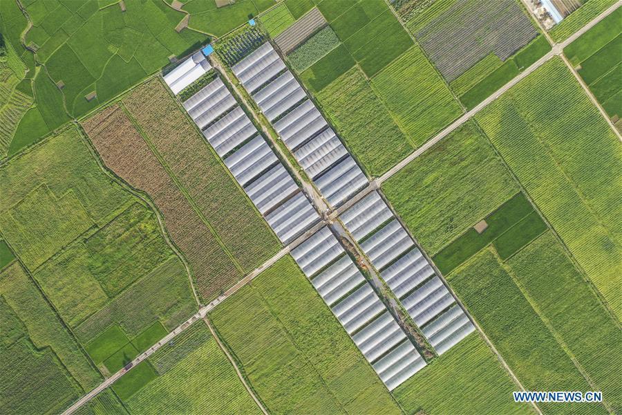 Aerial view of Ertang Township in Wuxuan County, Guangxi
