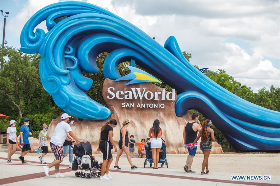 Tourists visit SeaWorld San Antonio in Texas