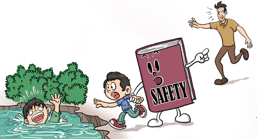 Safety lessons for children by the river