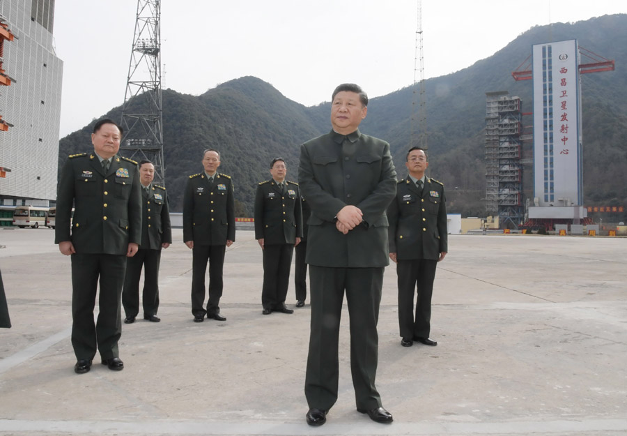 visits a satellite launch site at a military base in Southwest China's Sichuan province, Feb 10, 2018..jpeg