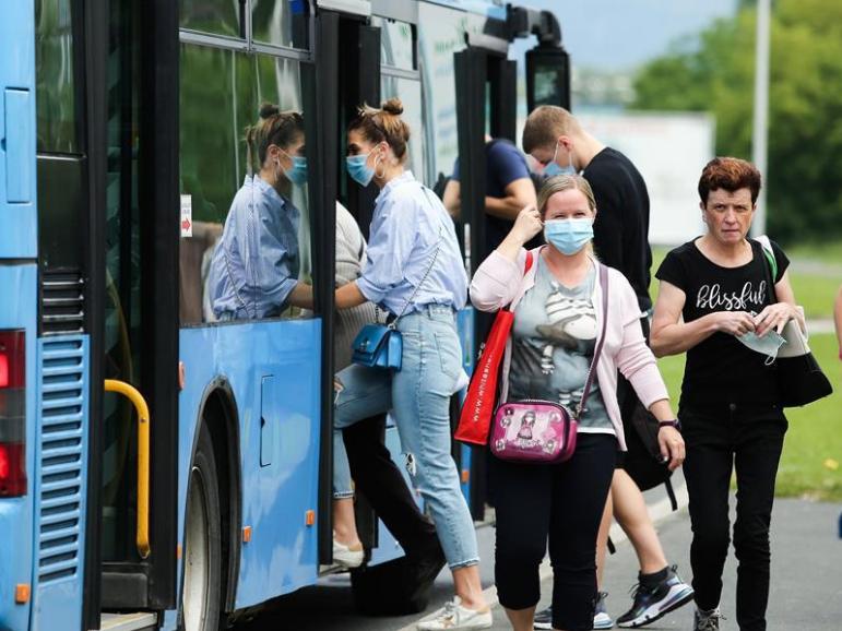 People wear face masks in Croatia