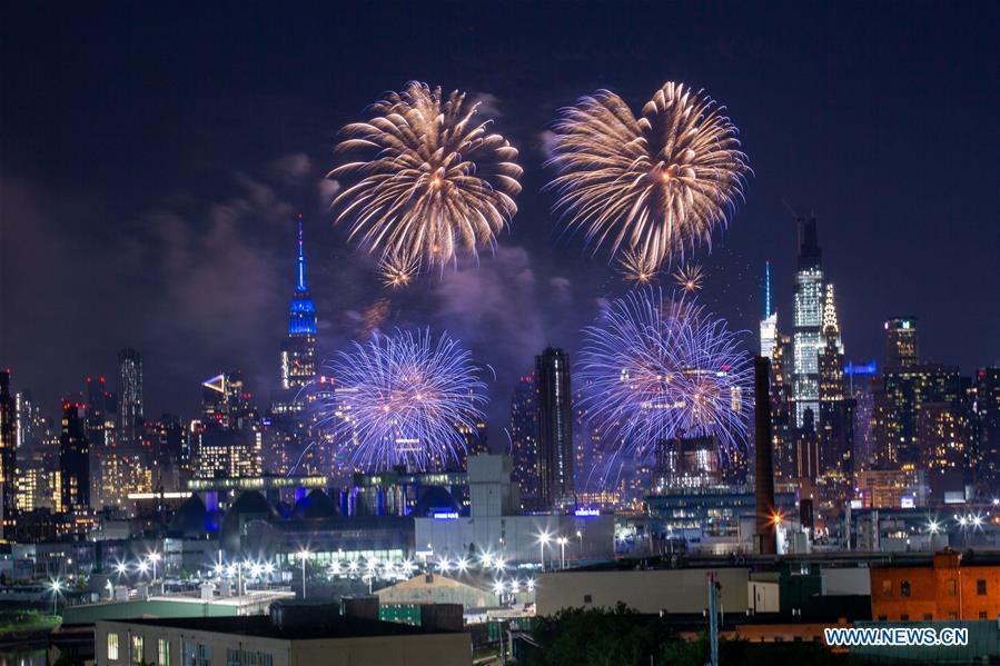 Firework show held in New York to celebrate upcoming Independence Day