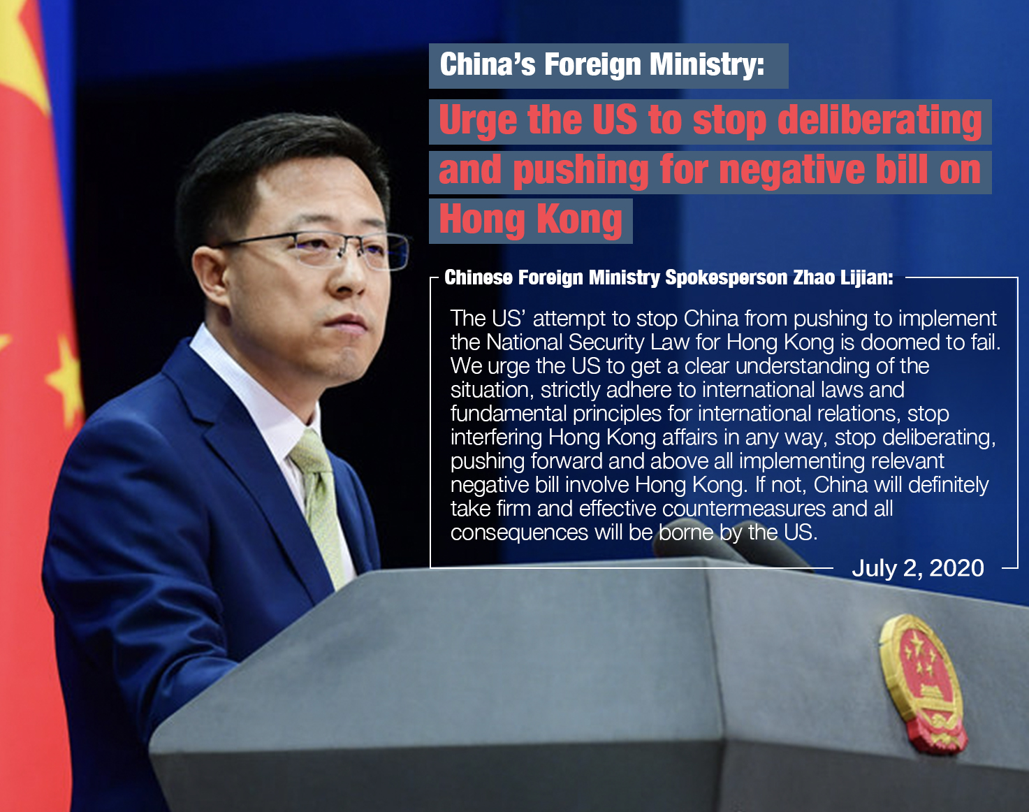 China's Foreign Ministry urges US to stop deliberating, pushing for negative bill on HK