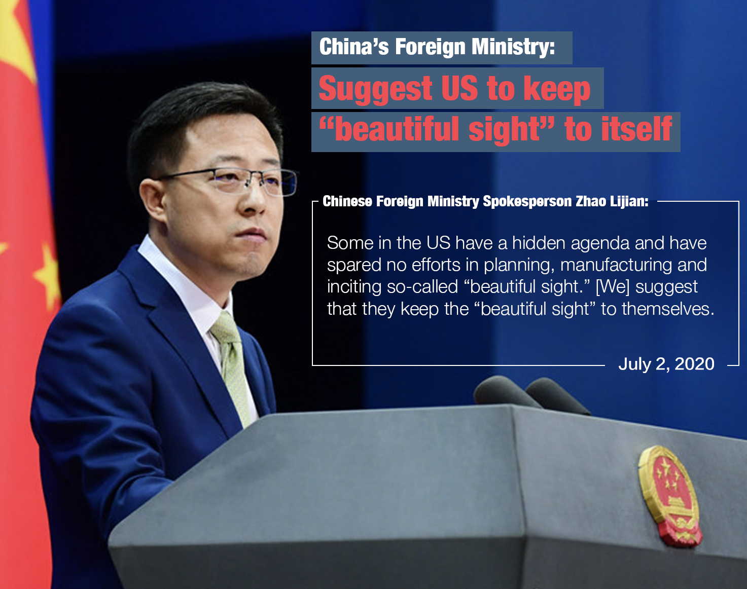 Chinese Foreign Ministry: Suggest US to keep 'beautiful sight' to itself