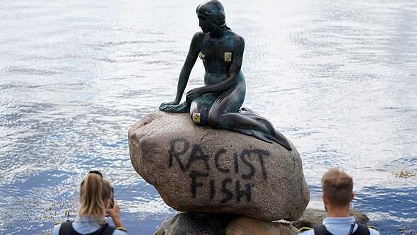 Danish statue of Little Mermaid vandalized with 'Racist Fish' graffiti