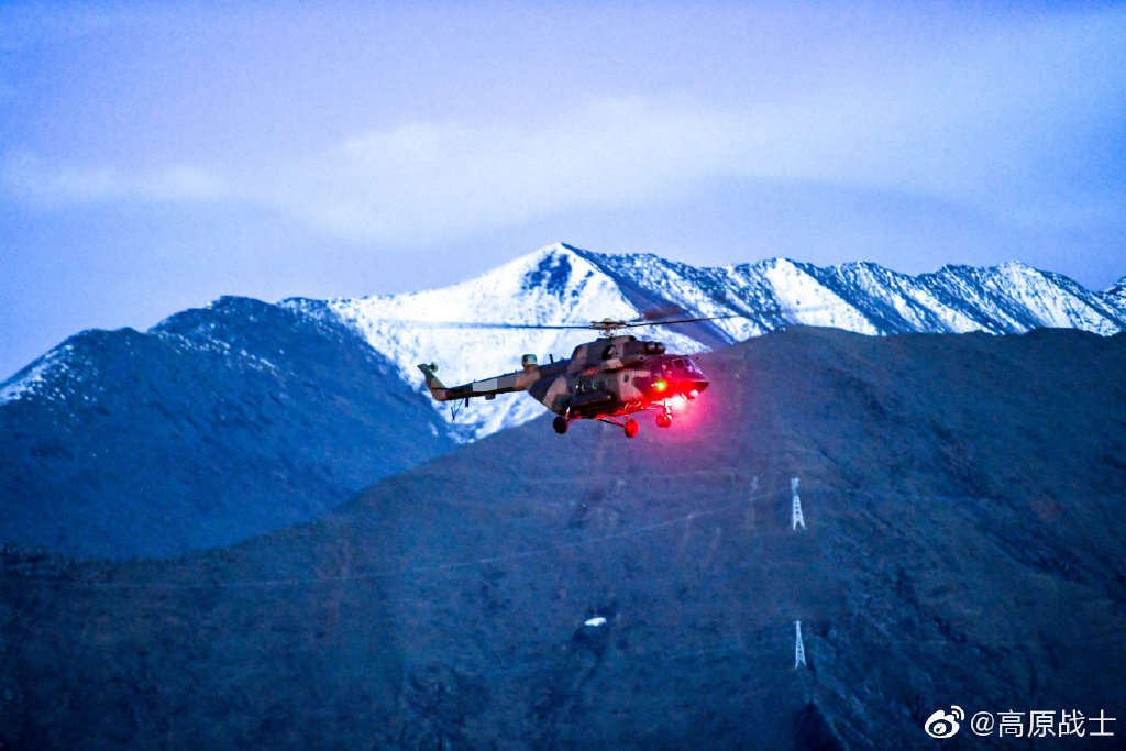 PLA Tibet Military Command conducts nighttime flight exercises