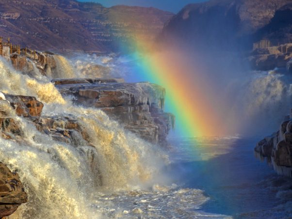Four seasons at China's Hukou Waterfall