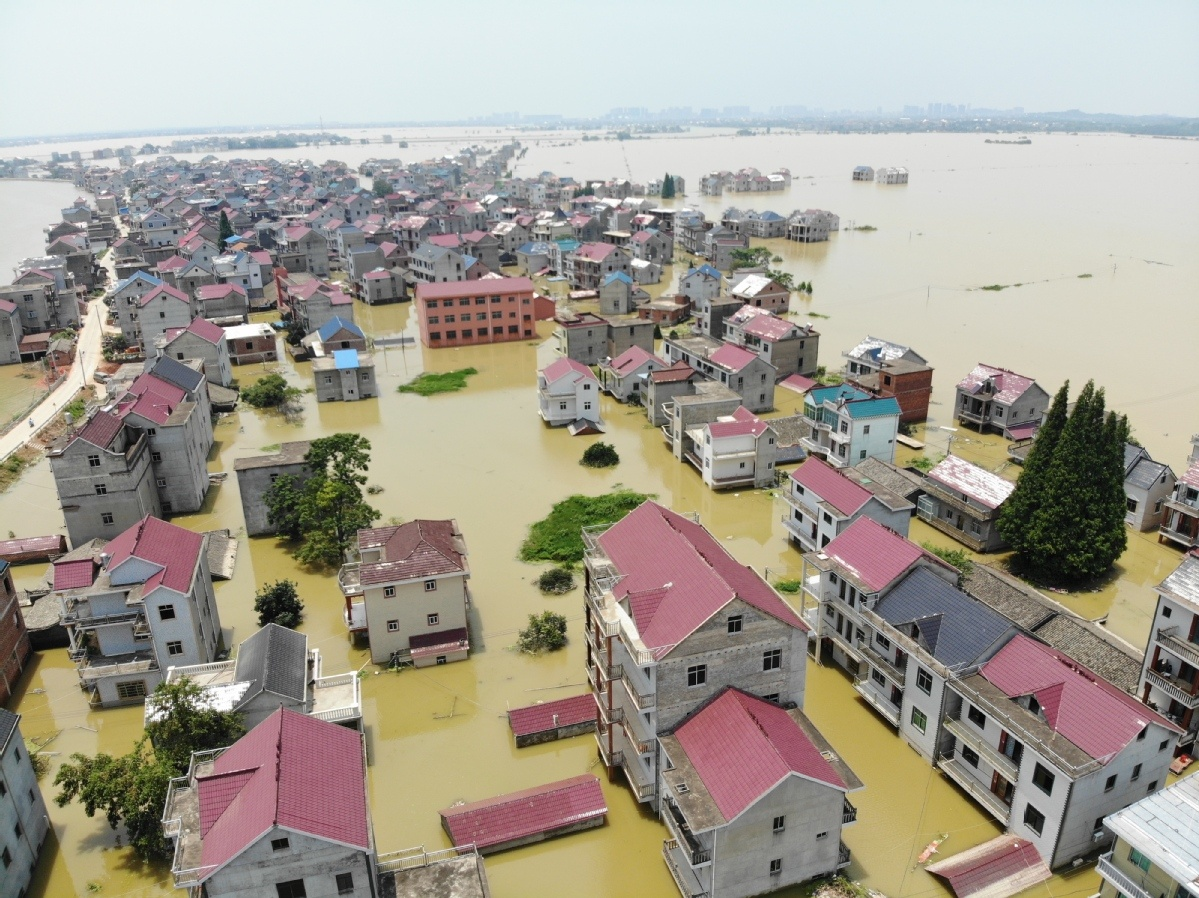 Village in Jiangxi province besieged by flooding