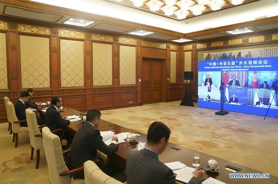 Chinese FM hosts C+C5 foreign ministers video meeting