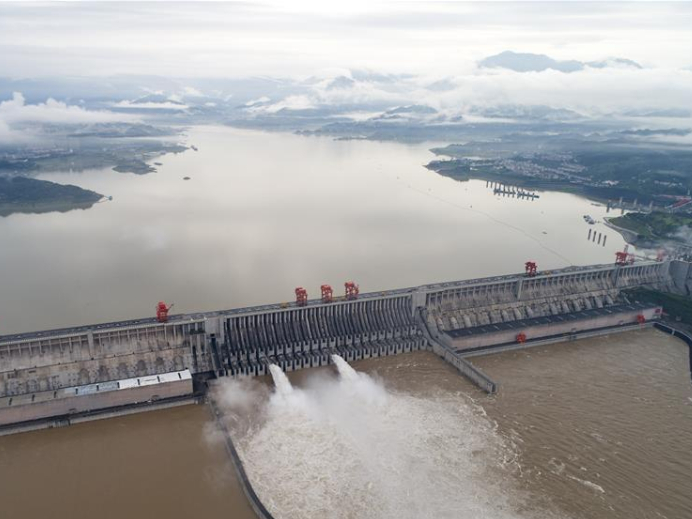 Water gushes out from sluiceways of Three Gorges reservoir on Yangtze River
