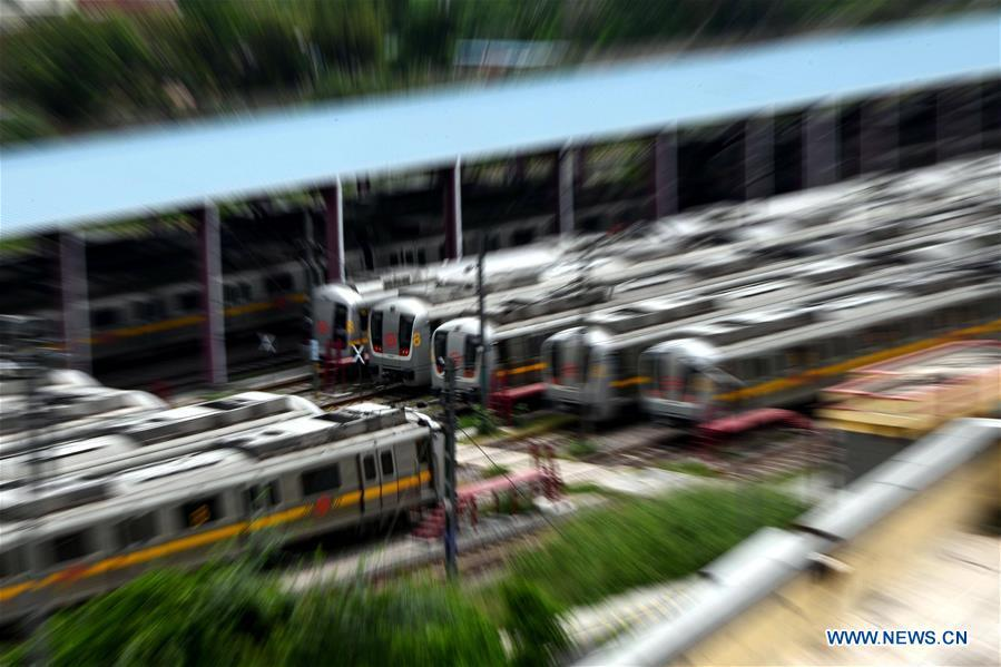 Trains parked at yard as Delhi Metro services suspended in New Delhi, India
