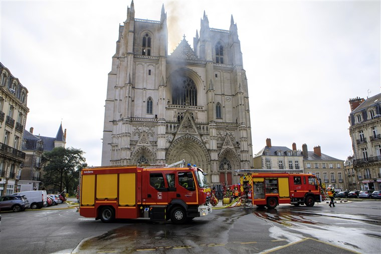 Man questioned in arson probe into French cathedral fire