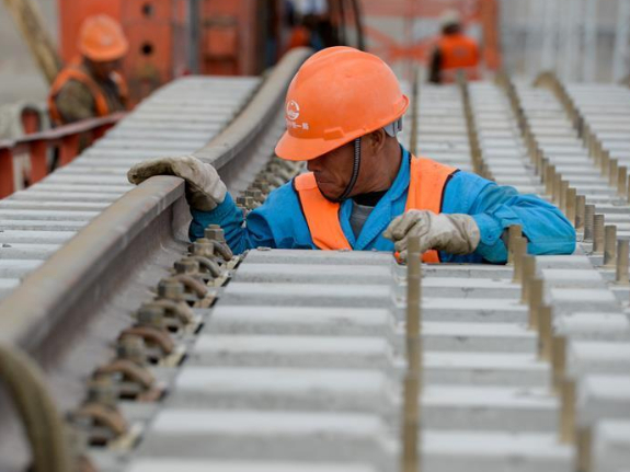 Construction site of Golmud-Korla Railway