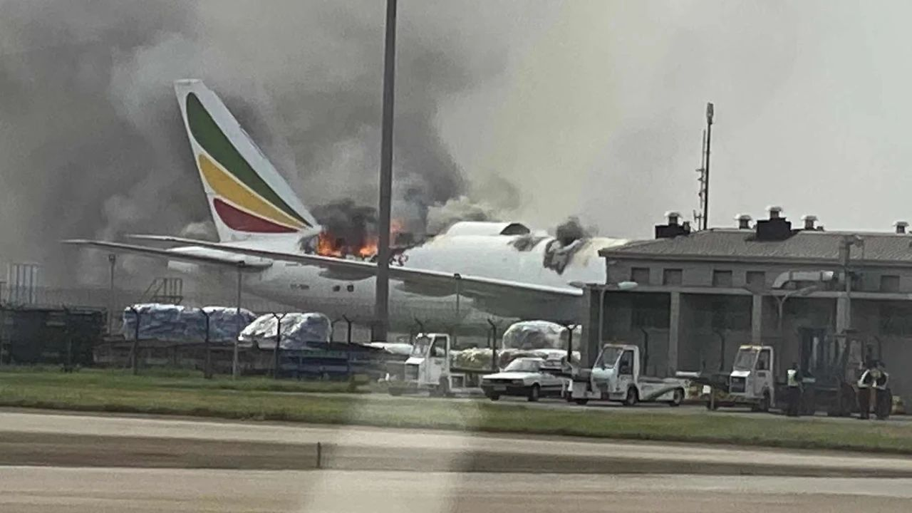 Cargo plane catches fire at Shanghai airport