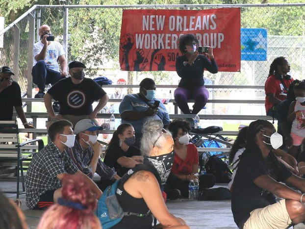 People pay attention to speech during Teachers and Essential Workers Protest in Louisiana, US