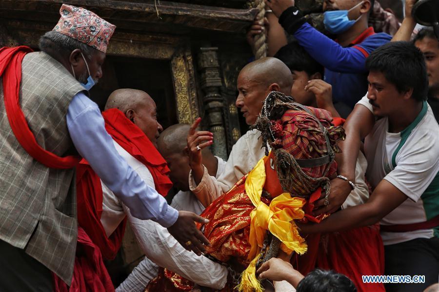 People participate in Rato Machindranath Festival in Lalitpur, Nepal