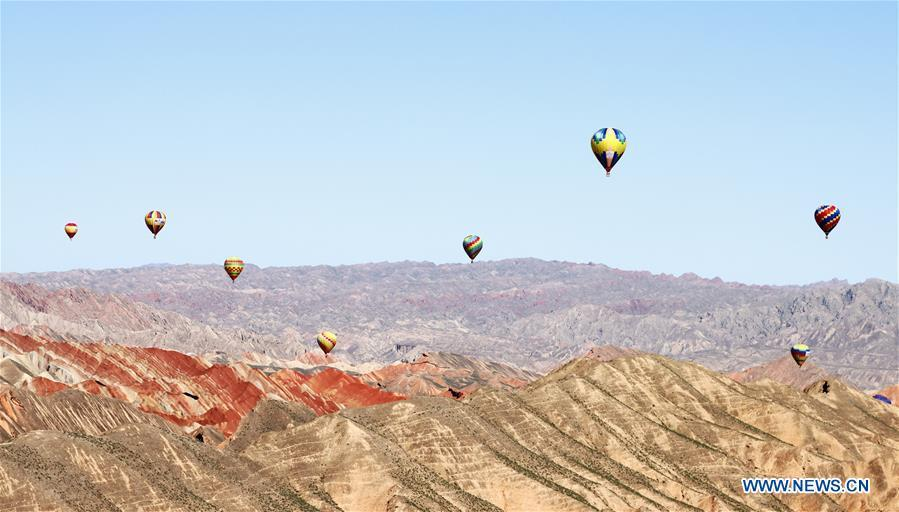 International hot air balloons festival opens in Gansu