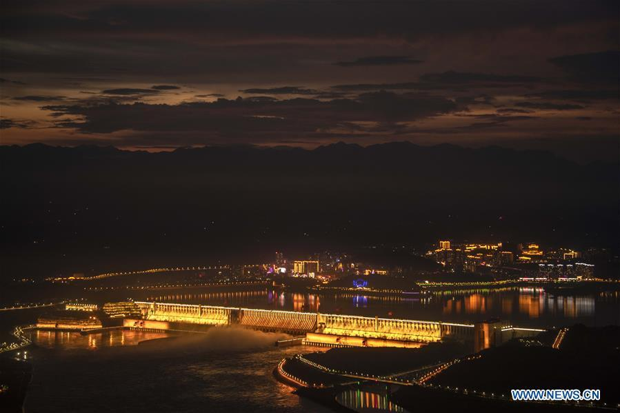 Night view of Three Gorges project