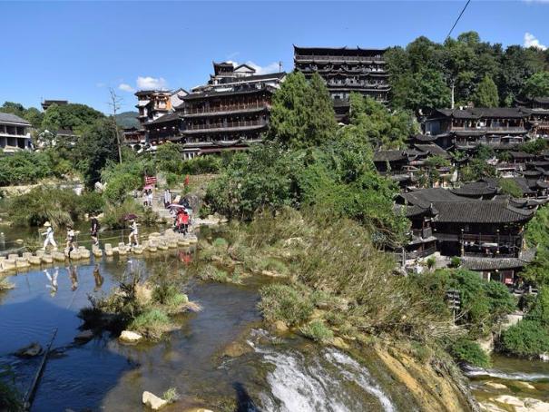 Tourists enjoy leisure time in Yongshun County, China's Hunan