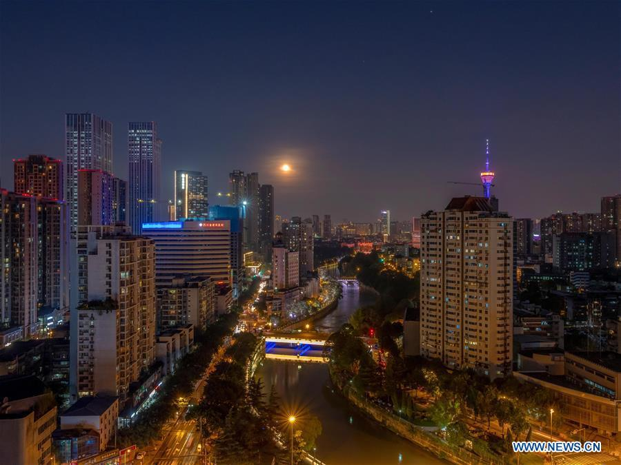 Full moon seen in Chinese cities