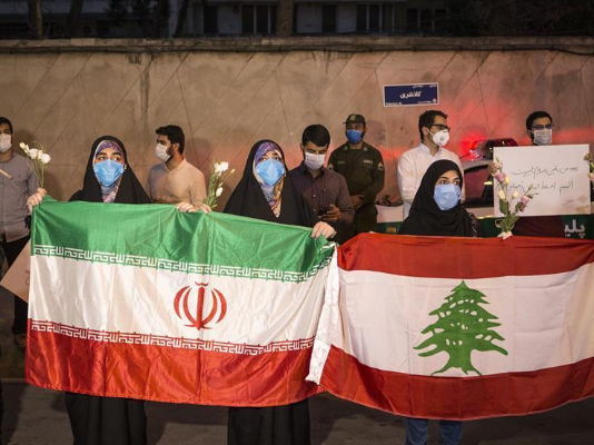 Iranian people show their solidarity with Lebanese people in front of Lebanese embassy in Tehran