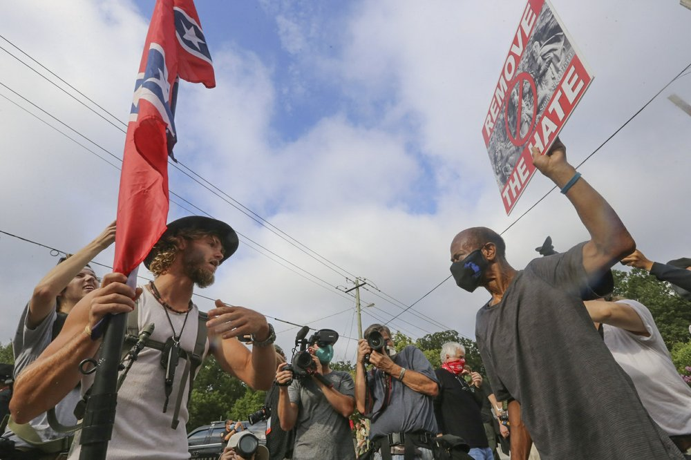 Police move in after fights break out during Georgia protest