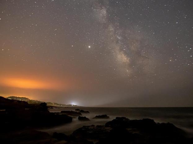 Sky illuminated by blaze of wildfires in California