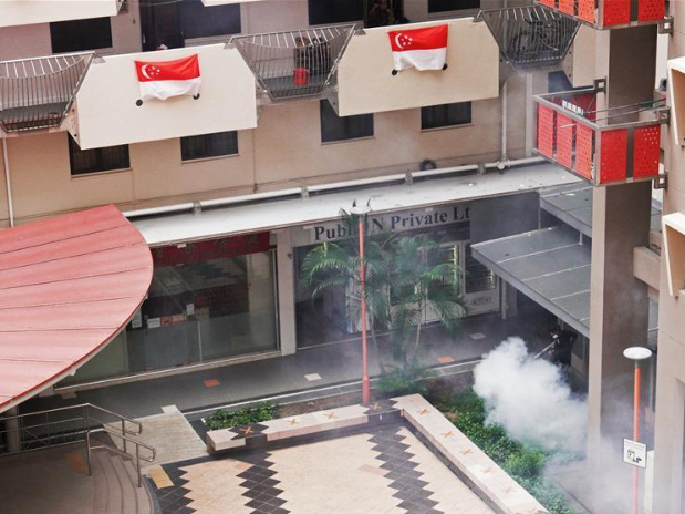 Worker fumigates public housing estate to kill Aedes mosquitoes in Singapore
