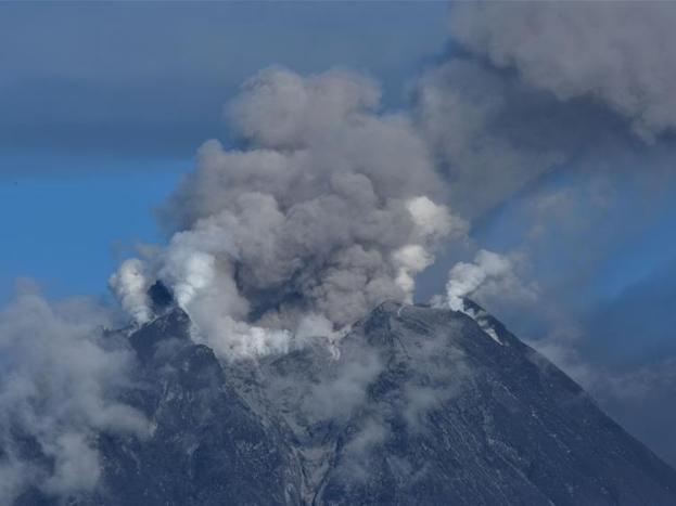 Mount Sinabung spews volcanic materials at Karo, Indonesia