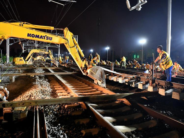 Hefei-Anqing high-speed railway under construction