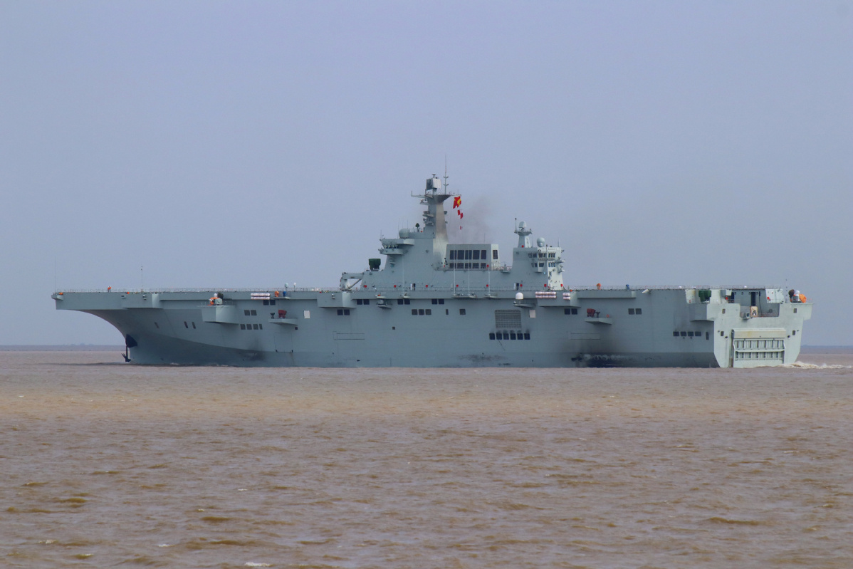 China's first amphibious assault ship completes maiden sea trial