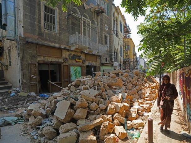 Workers repair buildings damaged in Beirut explosions