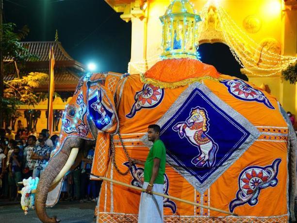 Buddhist procession held at Kotte Rajamaha Viharaya in Colombo, Sri Lanka