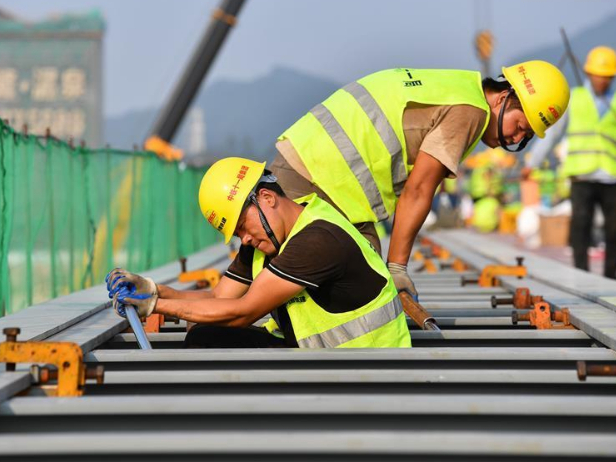 Construction site of medium-low-speed maglev railway in Qingyuan City