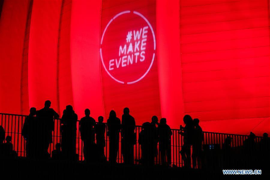 """Arena Zagreb stadium lit in red on occasion of global """"Red Alert"""" initiative in Croatia"""