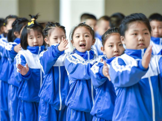 Students attend physical education class in Changchun, China's Jilin