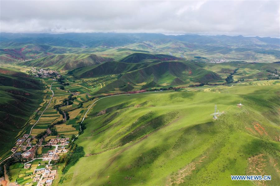 Aerial view of Gannan Tibetan Autonomous Prefecture in NW China
