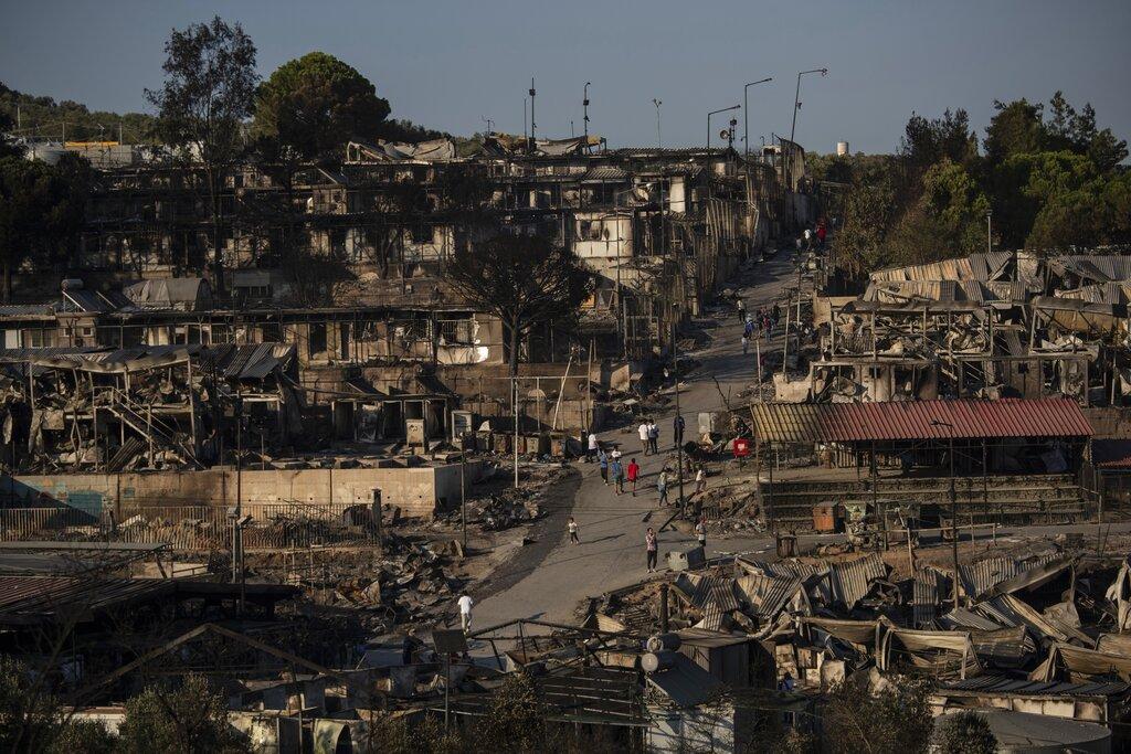 Little left of Greece's Moria refugee camp after 2nd fire