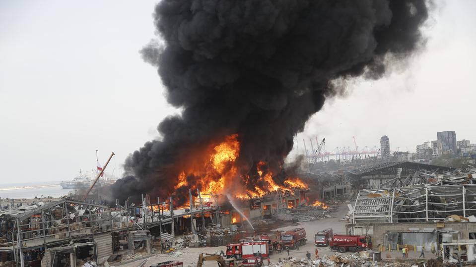 Massive fire erupts at Beirut's port