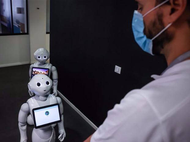 Pepper robots seen at SoftBank Robotics in Paris, France