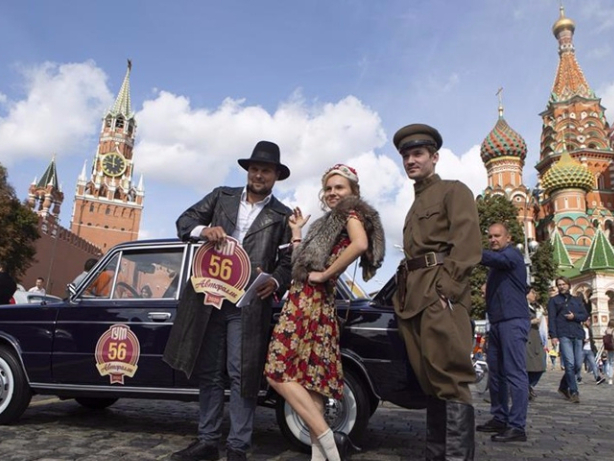 Lada cars rally in Moscow, Russia