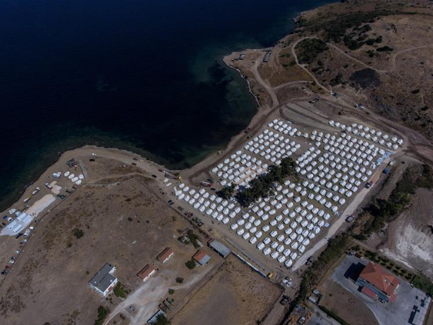View of new tents for relocating migrants, refugees after fire breaks out at Greece