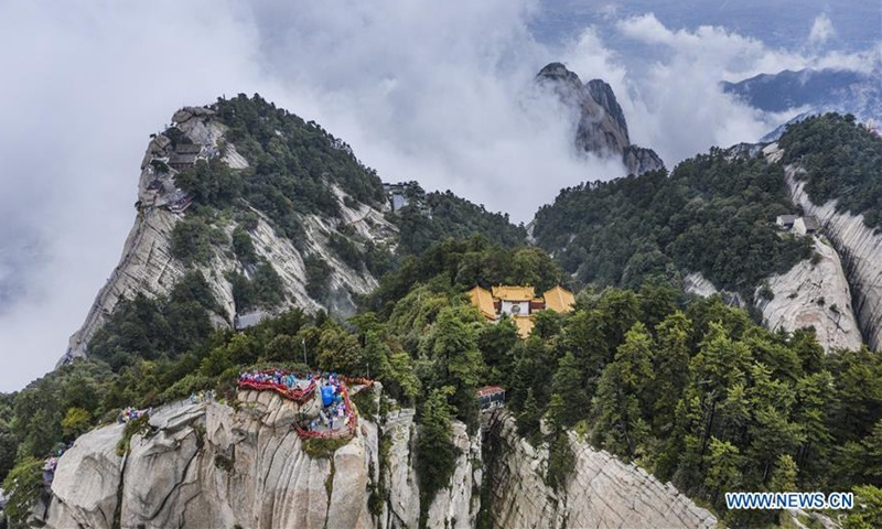 View of mist-shrouded Mount Huashan