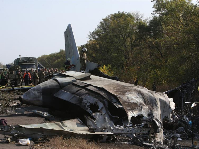 Ukrainian military plane most likely crashes 'catching ground with its wing'
