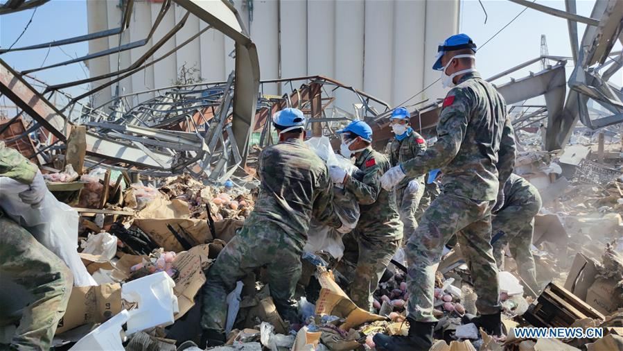 42 Chinese peacekeepers helping UNIFIL's cleaning work at Beirut's port