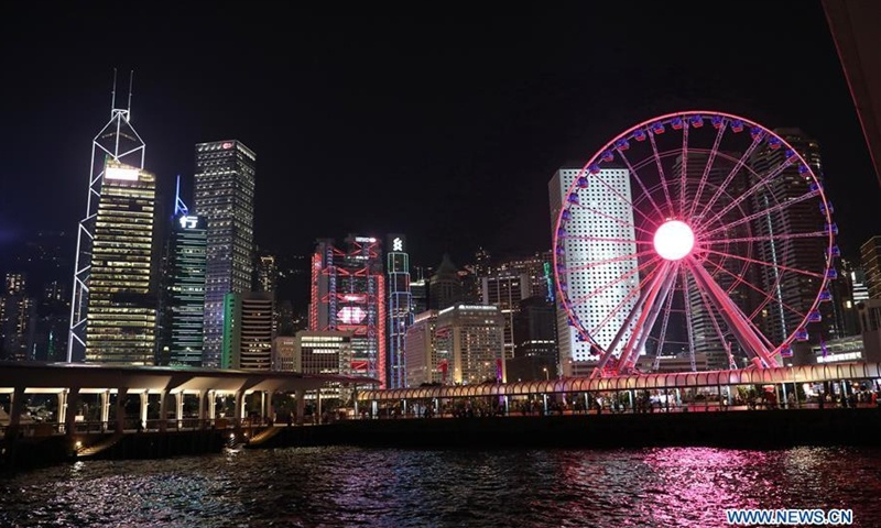 Night view of Victoria Harbour in south China's Hong Kong