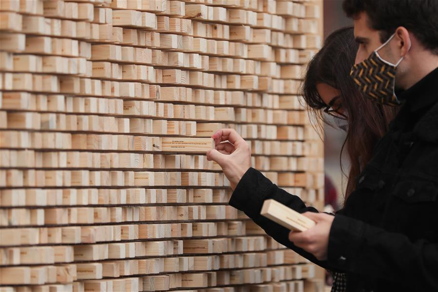 """Art installation """"the Disappearing Wall"""" set up to mark 30th anniversary of German reunification"""